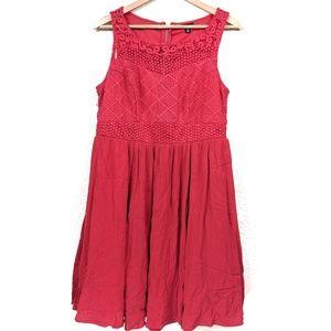 Torrid Red Lace Pleated Empire Waist Tank Dress